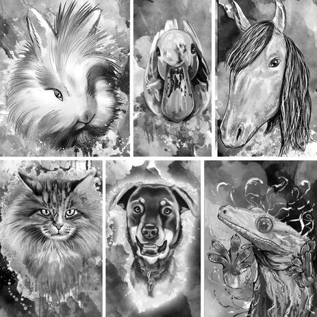Kolstående av något husdjur i svartvit stil med bakgrund - example