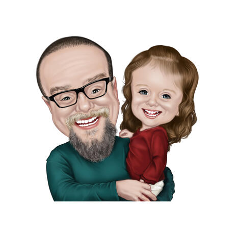 Father and Daughter Caricature from Photos in Colored Style - example
