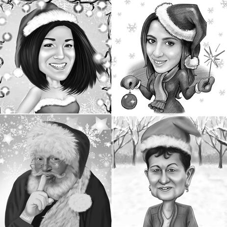 Christmas Caricature of 1 Person in Black and White Style with Background - example