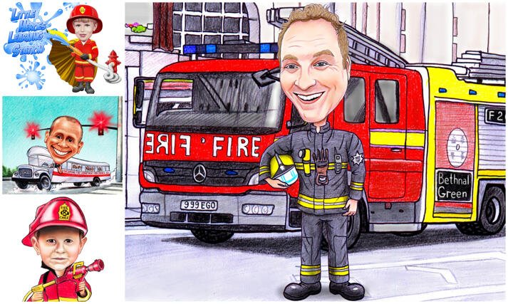 Firefighter Caricature large example