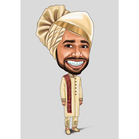 Custom Indian Groom Exaggerated Caricature from Photo on Color Background - example