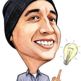 Funny Caricature from Photo in Colored Pencils Style