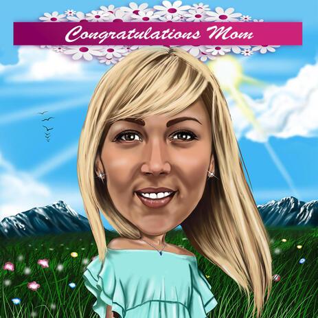 Karikatur, die am Tag der Mutter vom Foto in farbiger digitaler Art zeichnet - example