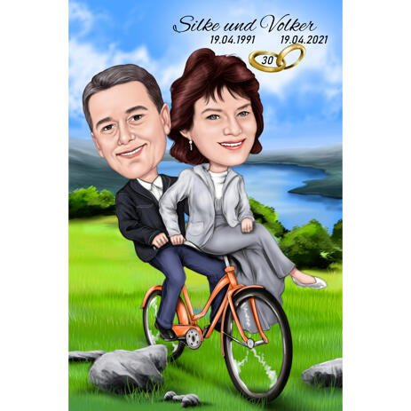 Couple on Bicycle Colored Caricature with Custom Background for Anniversary Gift - example