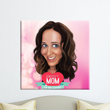 Personalized Print on Canvas: Custom Mother Cartoon Drawing from Photo - example