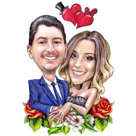 Engagement Caricature with Floral Ornaments for Anniversary Gift