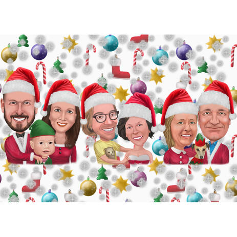 Head and Shoulders Family Christmas Caricature from Photos - example