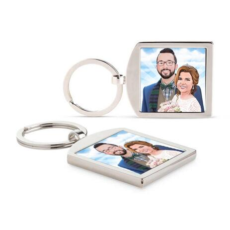 Hand-Drawn Bride and Groom Portrait Printed on Keyrings - example