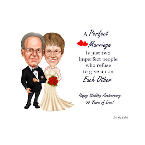 Wedding Couple Caricature for Personalized Anniversary  Gift - example