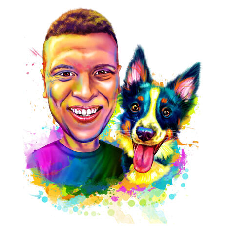 Owner with Border Collie Caricature Portrait from Photos Drawn in Vivid Watercolor Style - example