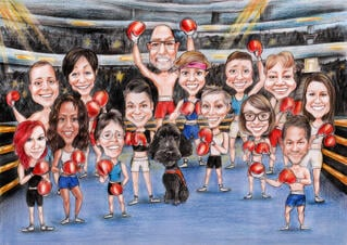 Boxing Group Caricature from Photos