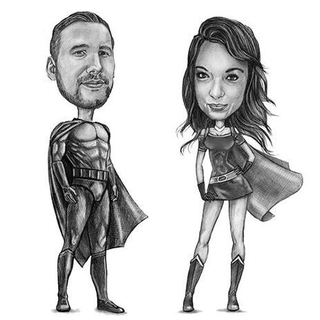 Superhero Couple Caricature from Photos in Pencils - example