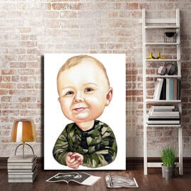 Toddler Caricature from Photos as Canvas