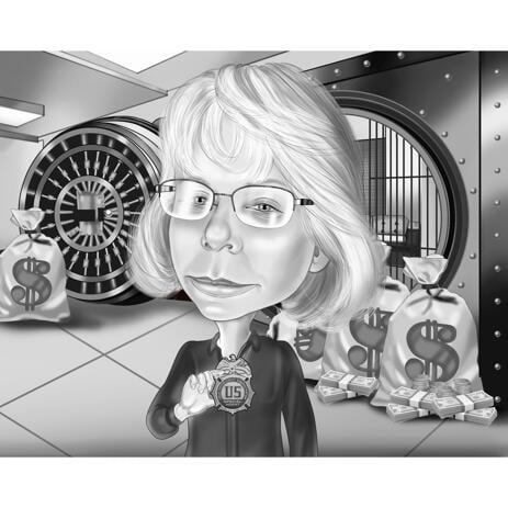 Bankkarikatyr - Anpassad karikatyrporträtt från foto i svartvit stil för bankirgåva - example