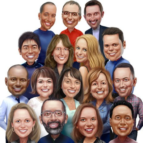 Colored Group Caricature from Photos - example