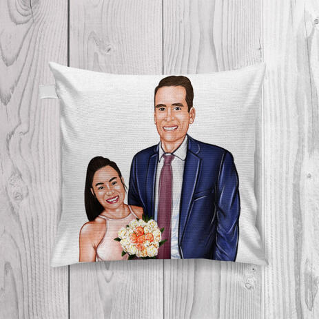Newlyweds Caricature Drawing as Pillow - example