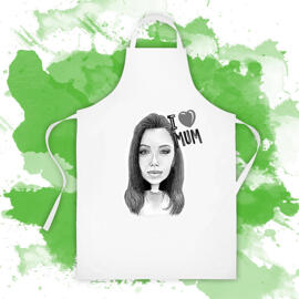Printed Drawing on Apron: Caricature Drawing