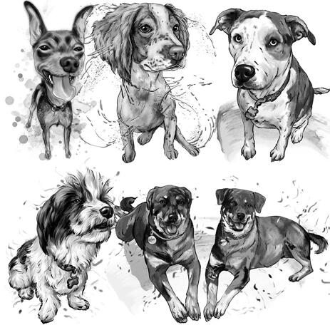Koera akvarellportree täiskehaga, puusüsi stiilis - example