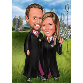 Harry Potter Fans Couple Portrait for Birthday Gift