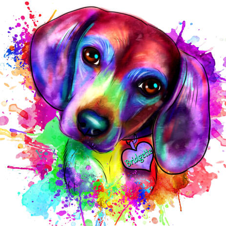 Beagle Watercolor Portrait from Photos in Rainbow Style - example