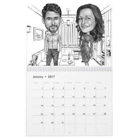 Colleagues Caricature on Calendar - example