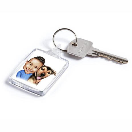 Kid and Dog Caricature as Keyrings - example