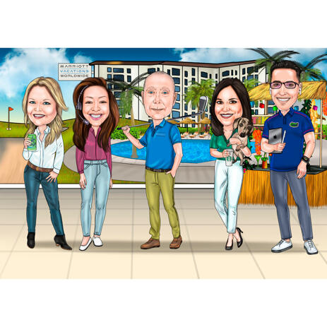 Group Casual Work Funny Cartoon from Photos with Custom Background - example