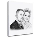 Pencils Portrait of Bride and Groom as Canvas Print
