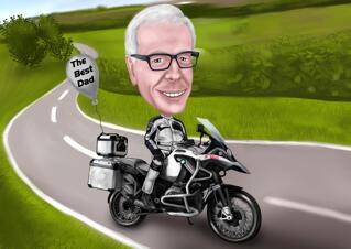 Digital-Karikatur-Zeichnung mit kundenspezifischem Hintergrund vom Foto