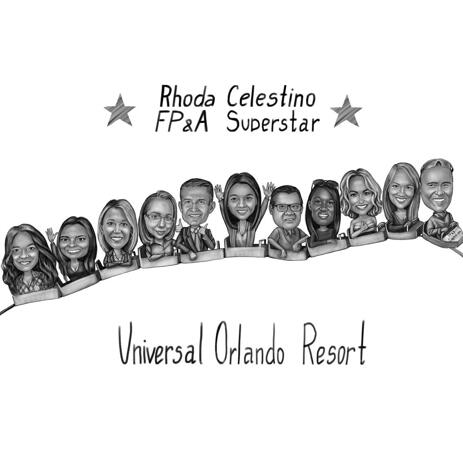 Rollercoaster Business corporate Cartoon Portrait from Photos with Company Emblem Sign - example
