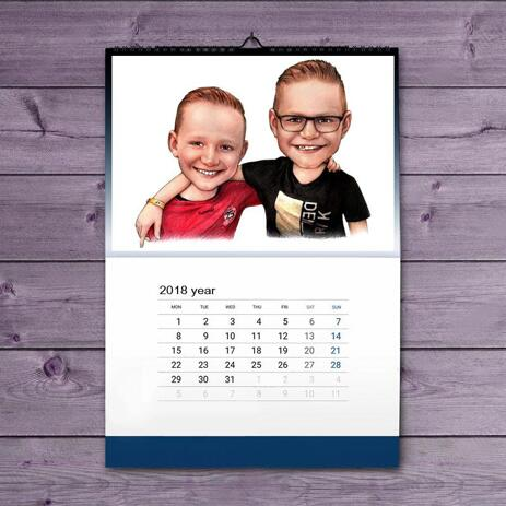 Friends Kids Caricature on Calendar - example