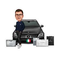 Persoon Shopaholic met voertuig - Grappig karikatuurgeschenk in kleurstijl van foto's