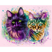 Couple of Cats Caricature Portrait in Watercolor Style with One Color Background