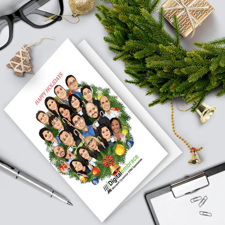 Company Staff in Wreath Christmas Holiday Set of 10 Cards Caricature from Photos - example