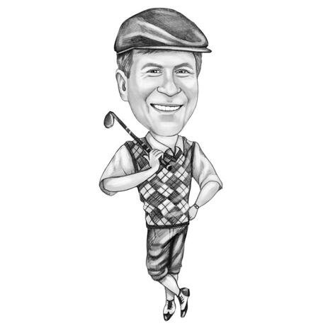 Full Body Golfer Caricature from Photos: Black and White Style - example