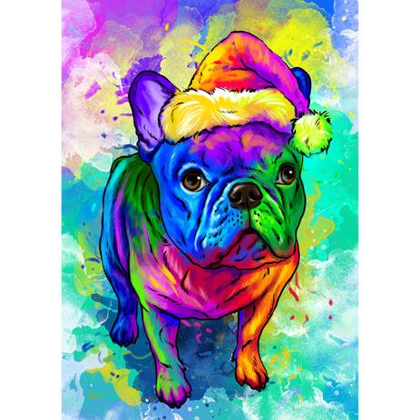 Watercolor Christmas Dog Portrait from Photos with Custom Gift - example