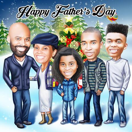 Kundenspezifische Zeichnung der Familienkarikatur in farbiger Digital-Art - example