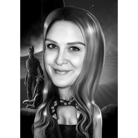 Black and White Caricature with Custom Background for Guardians of the Galaxy Fans - example