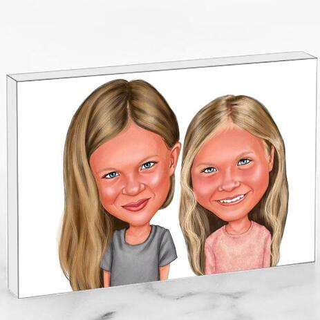 BFF Kid Caricature Printed on Photo Block - example