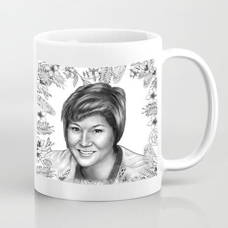 Personalized Mug: Printed Photo Mug with Monochrome Portrait Drawing - example