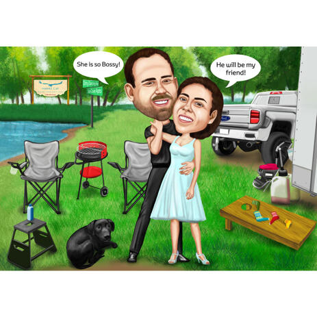 Custom Couple with Pet Camping Caricature in Colored Style - example