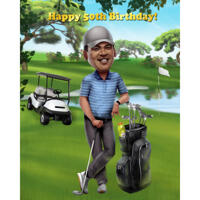 Golfer Birthday Cartoon Caricature Gift from Photo in Full Body Colored Style