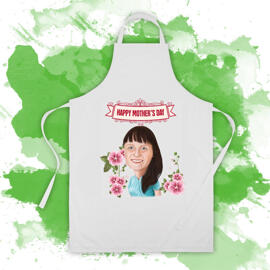 Cook Apron: Woman Caricature Drawing from Photo on Mother's Day