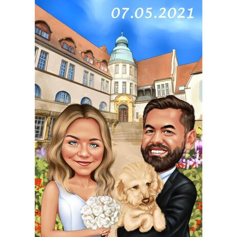 Church Wedding Couple with Pet Caricature Drawing from Photos - example