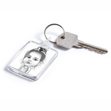 Baby Girl Caricature Printed on Keyrings - example