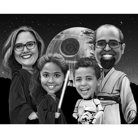 Custom Family Caricature for Star Wars Fans - example