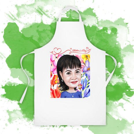 Custom Apron Print: Pencils Cartoon Drawing from Photo on Mother's Day - example