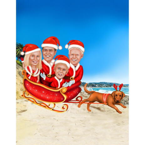 Christmas Family Caricature in Sleigh with Tropical Background - example