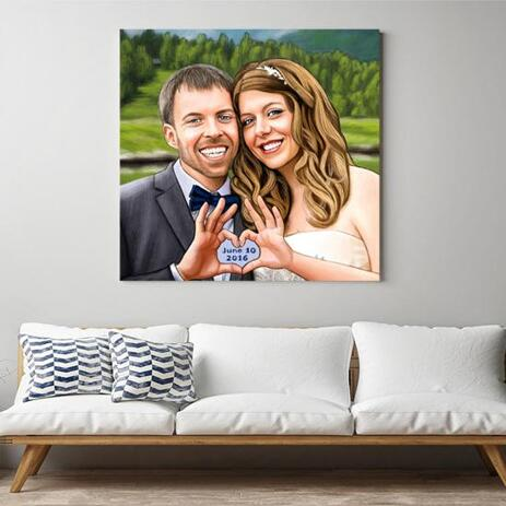Wedding Couple Canvas Caricature - example