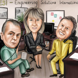 Full Body Office Caricature from Photo in Pencils Style